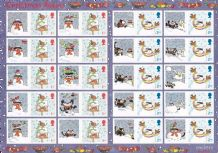 Christmas Winter Robins 1st & 2nd Class Sheet of 20 Stamps with labels - FV £13.10